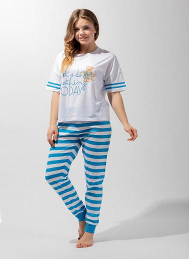 Katia & Bony Blue College Sweet Bear Kadın Pijama Takım  Beyaz